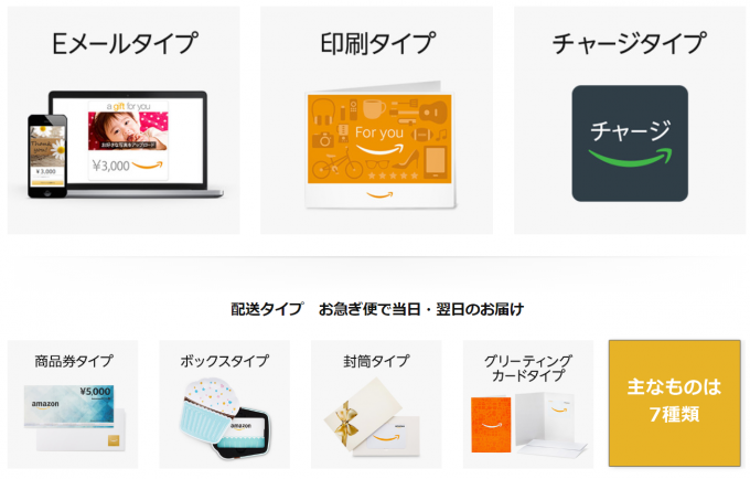 Amazonギフト券の主なものは7種類