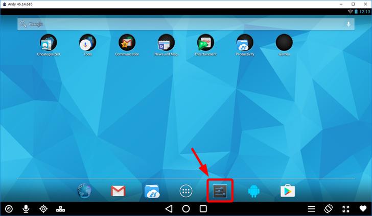 Andy OSで設定画面を開く