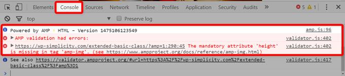 デベロッパーツールのConsoleでエラーを確認