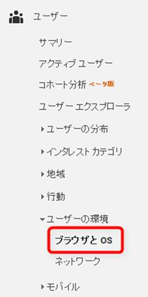 「ユーザー」項目から、「ユーザーの環境→ブラウザとOS」を参照