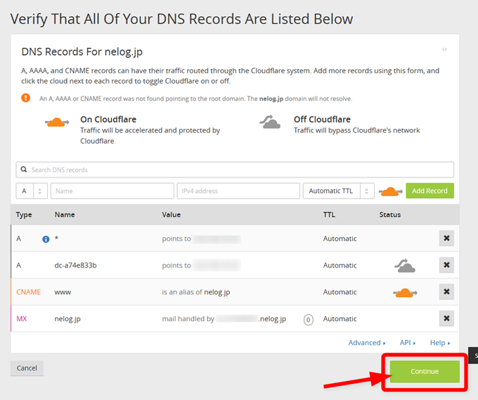 Step 2 Verify That All Of Your DNS Records Are Listed Below- nelog.jp Cloudflare - Web Performance & Security