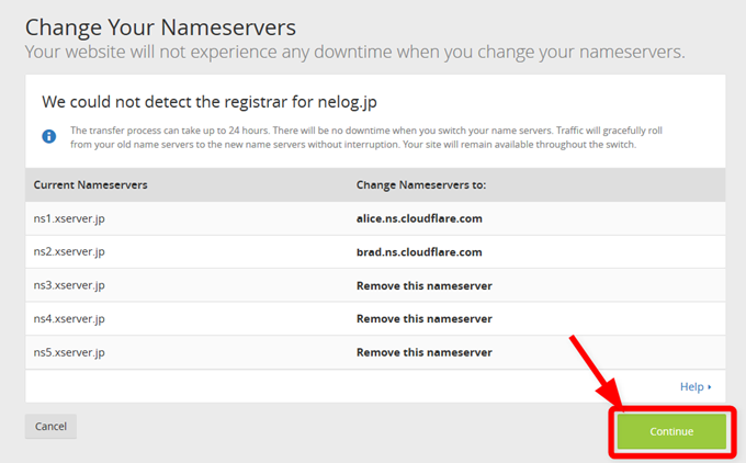 Step 4  Change Your Nameservers- nelog.jp  CloudFlare - Web Performance & Security