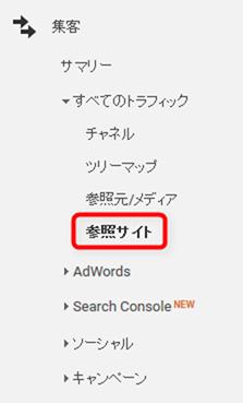 集客→全てのトラフィック→参照サイト