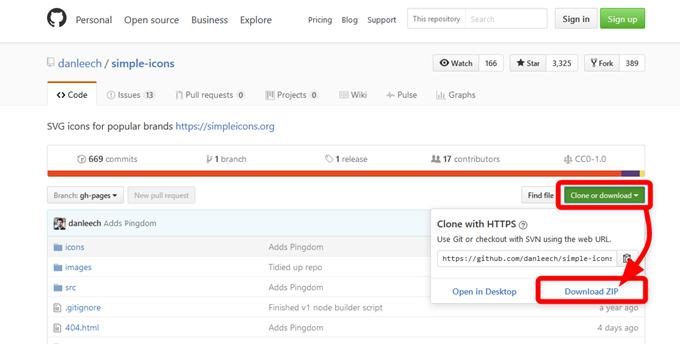 GitHubからSimple Iconsのプロジェクトファイルを全てdownload