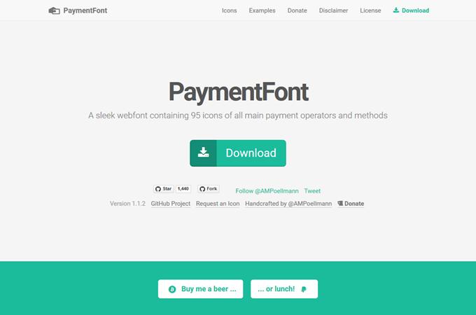 PaymentFont — A sleek Payment Webfont