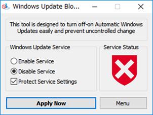 Windowsアップデートサービスを無効にした状態
