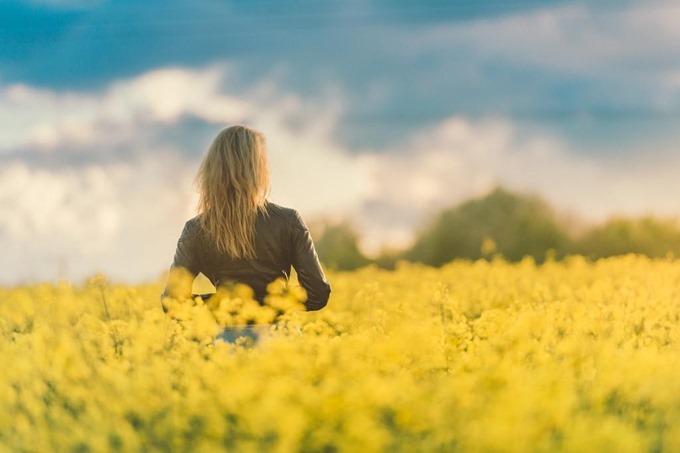 菜の花畑に人が立っている写真