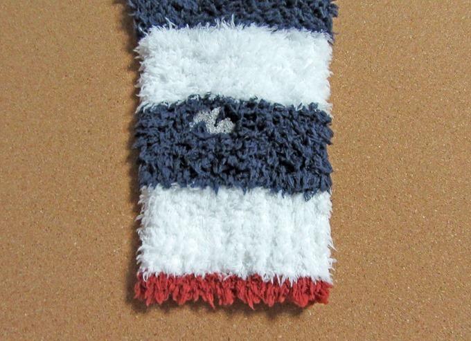 ジェラートピケ サガラ2BDショールカーディガン(ネイビー)の袖口