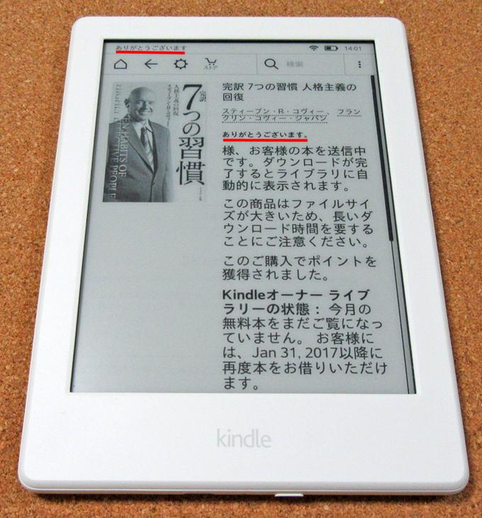 無料電子書籍の取得後の画面