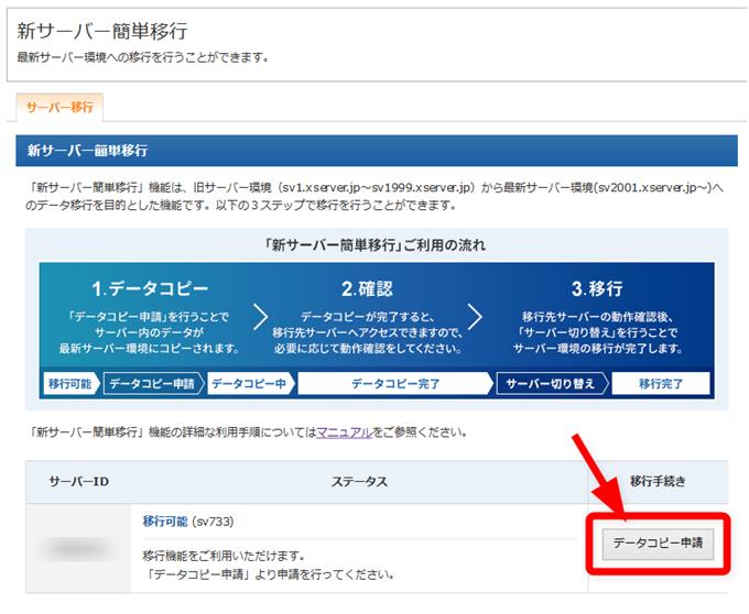 データコピー申請ボタン