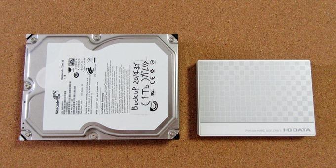 3.5HDDと2.5HDDの大きさ比較