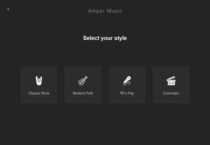 Composer Amper Musicでジャンルを選択