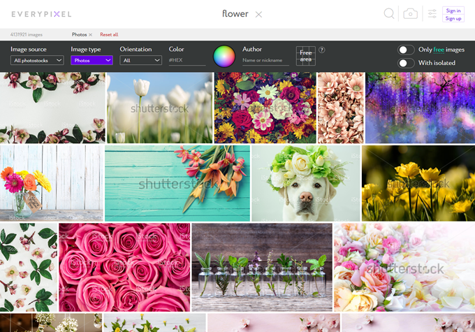 Everypixelで有料写真を含む花の写真を検索した結果