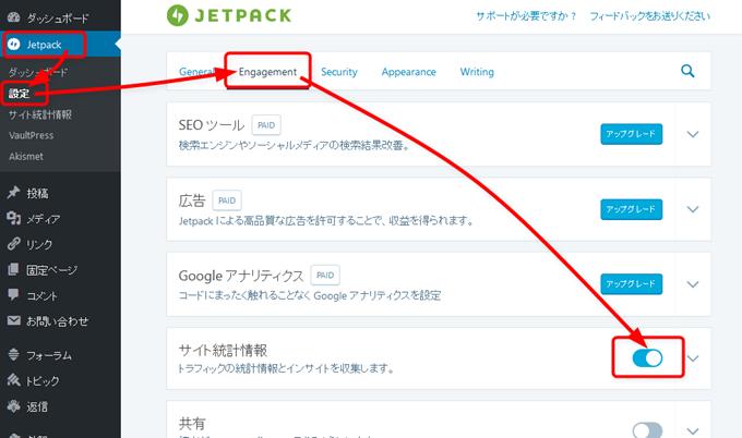 Jetpackのサイト統計情報を有効にする