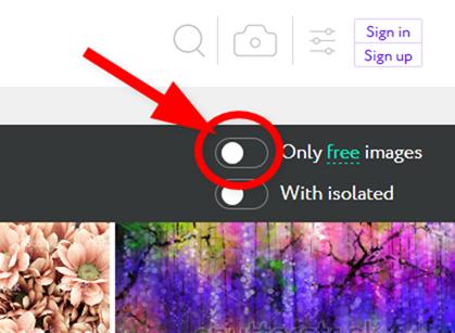 検索結果から有料写真を除外する