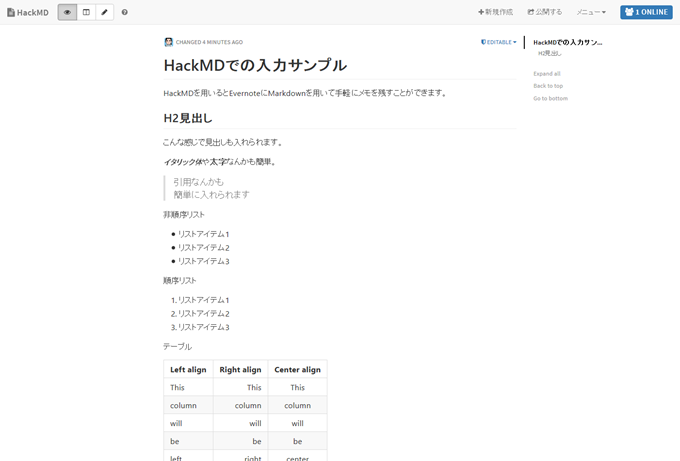 HackMDでの入力サンプル(プレビューモード) - HackMD
