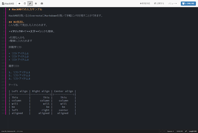 HackMDでの入力サンプル(編集モード) - HackMD