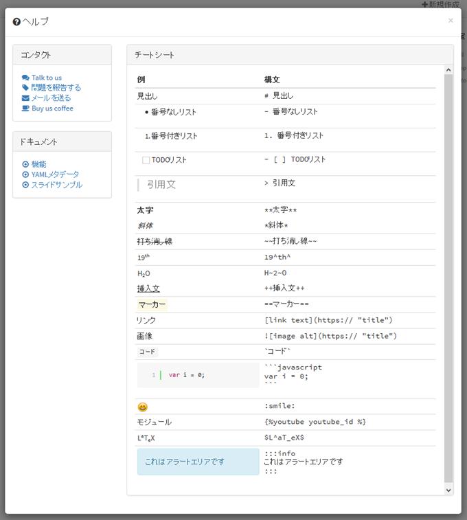 HackMDではMarkdown記法の入力例が日本語で表示