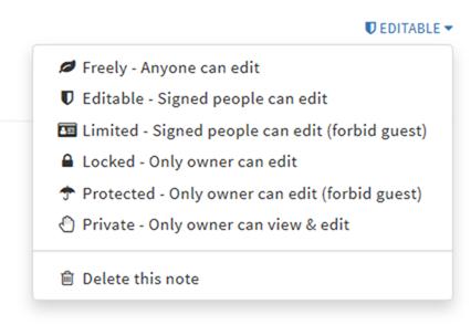 HackMDのノートのロック状態変更メニュー