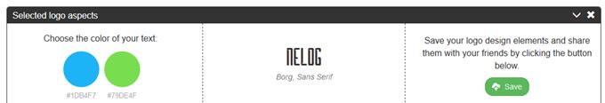 Logomakで提案されたカラースキームとフォント