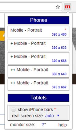 モバイルエミュレーターの操作画面
