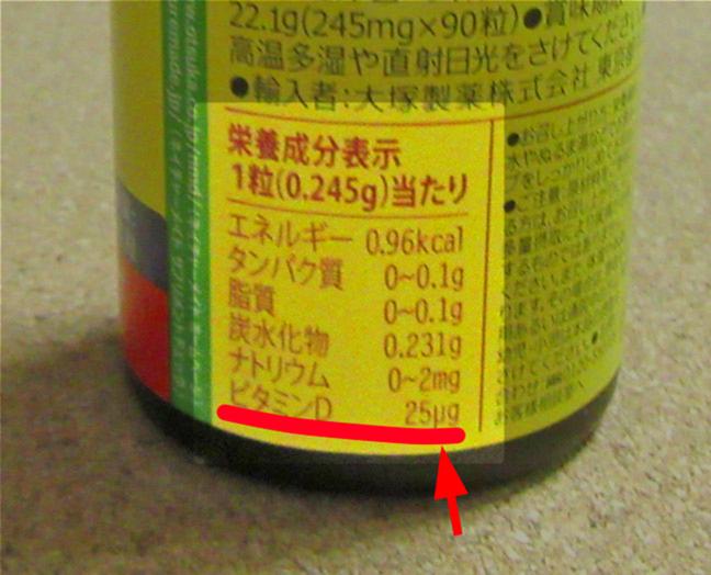 スーパービタミンD1錠栄養成分表