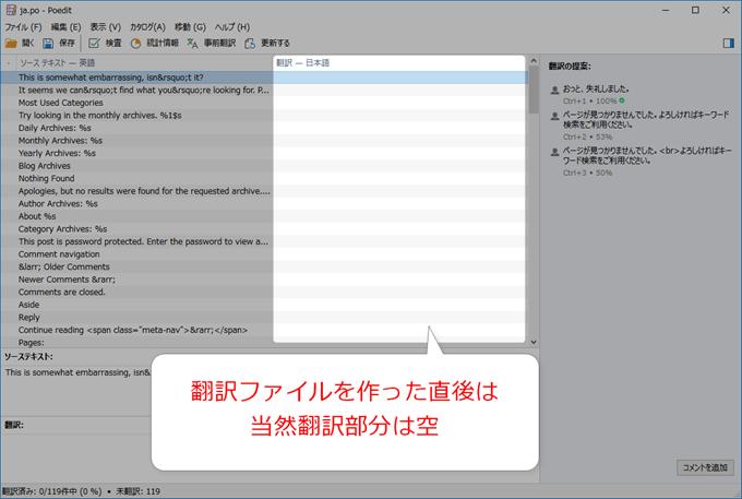 Poeditで翻訳ファイルを作った直後