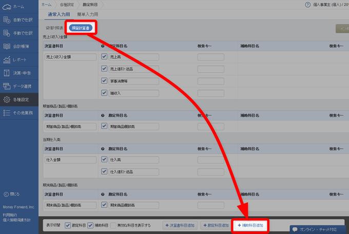 損益計算書タブの補助科目追加ボタンを押す
