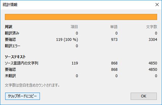 事前翻訳が終わった後の統計情報