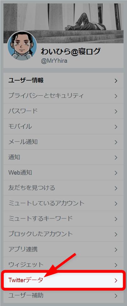 Twitterメニューから「Twitterデータ」を選択