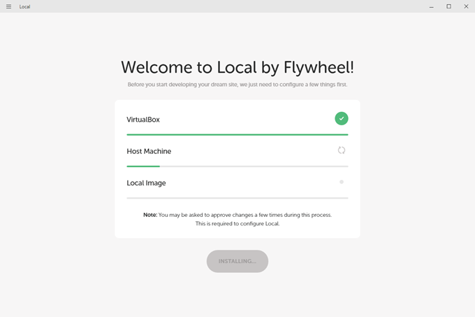 Local by Flywheelでホストマシンがインストール中