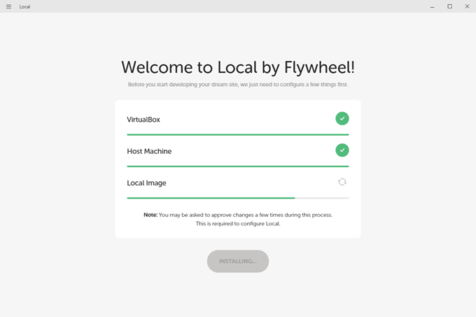 Local by Flywheelでローカルイメージのインストール中