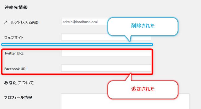 ユーザープロフィール画面のカスタマイズ後