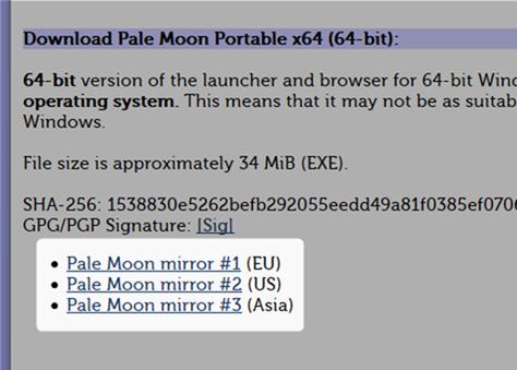64bit版のPale Moon Portable