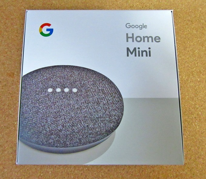 Google Home Miniの箱の表面