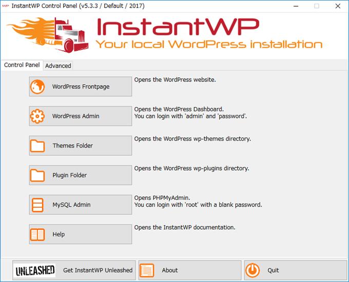 InstantWPのダッシュボード画面