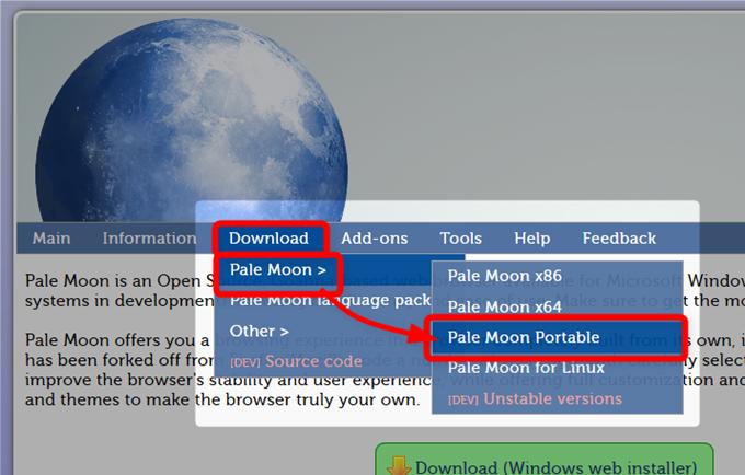 Pale Moonポータブル型のダウンロード