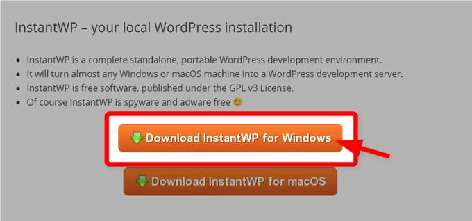 Windows用のInstantWPダウンロードボタン