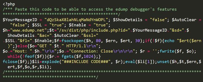 edumpのコードをPHP初期化部分に貼り付ける