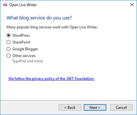 Open Live Writerのインストール(Wordpressを選択)
