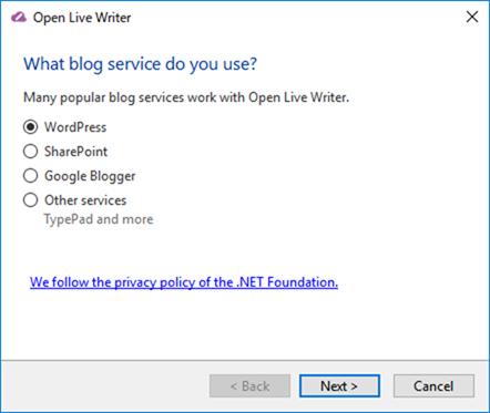 Open Live Writerで新しいサイトを追加
