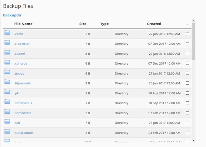JETBACKUP機能のバックアップファイルリスト
