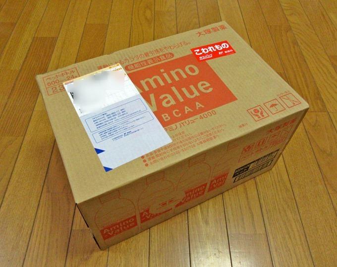 アミノバリューの500ml×24本入りの箱