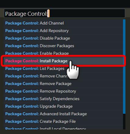 インストールパッケージ項目を選択