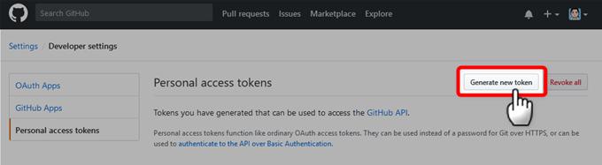 GitHubで新しいトークンの作成