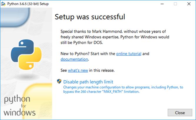 Pythonインストールの終了