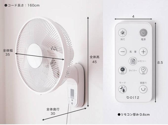 boltz壁掛け扇風機のサイズ1