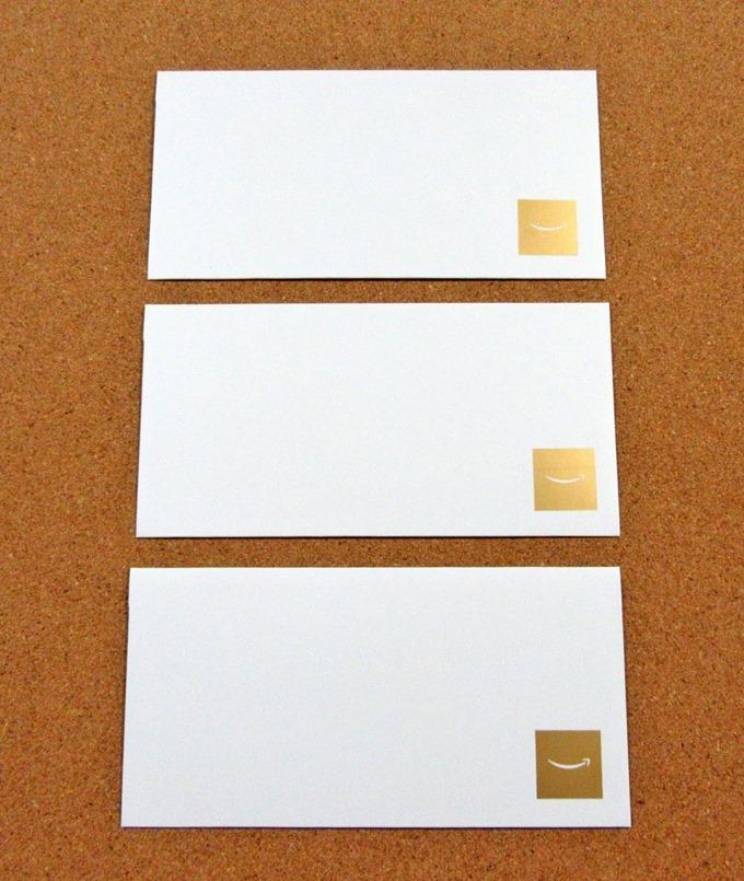 Amazonギフト券(商品券タイプ)3種類の封筒