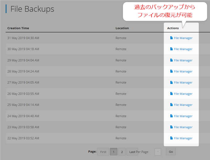 過去のファイルを復元可能