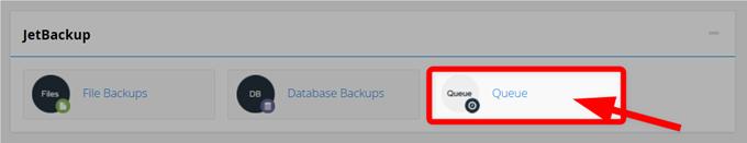 「JetBackup」項目の「Queue」を選択